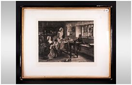 Pencil Signed Etching After Margaret Isabel Dicksee (1858-1903) Depicting Women & Children In A