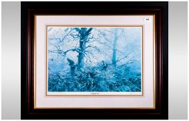Alan Hayman Pencil Signed Print Of A Hunter With His Dog In A Forest Setting With A Flying