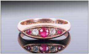 Ladies Antique 9ct Gold Ruby & Diamond 5 Stone Ring, Hallmark Birmingham 1923