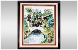 Contemporary 'Canal Boat Scene' Framed Oil on Canvas in the Impressionist Style. Unsigned. 29 by