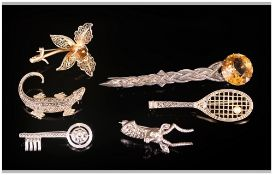 Antique And Unusual Collectors Of Stoneset Silver Brooches, 6 in total. Interested lot, Various