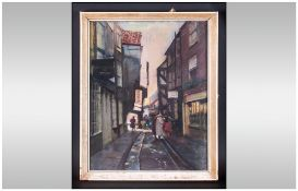 Pastel Drawing Of The Shambles York Figures In The Street, Signed A.Collins. Framed & Glazed.