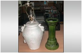 John Thompson Designer Table Lamp, Together With Two Small Jardiniere Stands