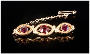 Antique 9ct Gold Fine 3 Stone Garnet Brooch, with safety chain. Bought from Russells 18 Church St,