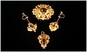 Victorian Demi-Parure Citrine Mounted Jewellery Set In Fitted Box, All Of Embossed Floral And Scroll