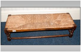 Oak Framed Double Footstool With Woven Rush Top