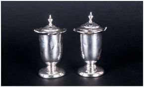 Edward VII Pair of Silver Pepperettes with Detachable Tops. Hallmark Birmingham 1906. Each Stands