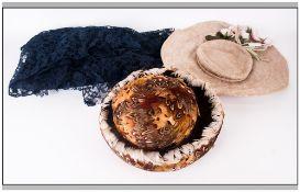 Feather Hat, 1950's Lace Hat & Navy Blue Lace