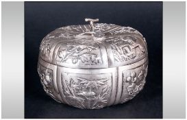 Chinese Export Silver Lidded Bowl The Whole With Foliage, Figures And Tropical Birds Embossed