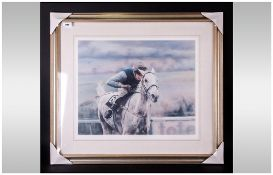 Peter Mailer Yates Ltd Pencil Signed and Numbered Edition Colour Print. Titled ' Desert Orchid