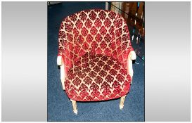 French Style Bedroom/Salon Tub Chair Painted Wooden Frame, Plush Red Upholstered Padded Seat And
