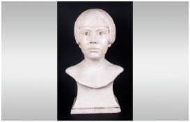 J M Jardine Chalk Bust of a Young Girl, shown wearing a fashionable 'bob' hairstyle of the 1920's;