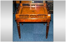 Mahogany Reproduction Tray Top Side Table In The Regency Style, Having a Deep Fret Work Edge With