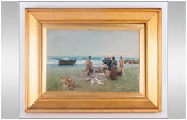 Alexander Finlay Listed Scottish Artist 1833-1895 'Fishermen On A Beach Cleaning Fish' Oil on