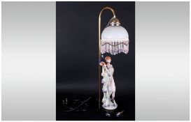 A Stylish 20th Century Hand Finished and Painted Figural Table Lamp, From The Juliana Collection,