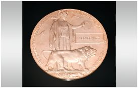 WW1 Death Plaque Named George West Complete With Sleeve & Outer Card Cover.