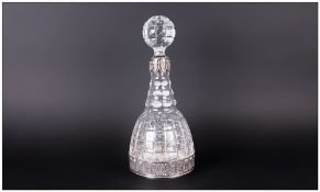Continental Antique Silver & Cut Glass Decanter Of Good Quality. The mallet shaped decanter attached