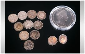 British Virgin Islands $10 Commemorative Coin Together With A Few Silver Threepences