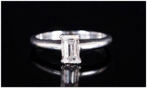 Platinum Single Stone Diamond Ring Set With An Emerald Cut Diamond, 4 Claw Setting Accompanied