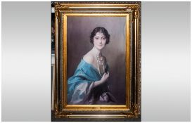 Oilograph Coloured Print of The Young Queen Mother, the Duchess of York (Plaque dated 1925) in