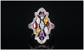 Ladies Vintage Silver Semi-Precious Stone Set Dress Ring In The 1920's Style, Amethysts, Citrine