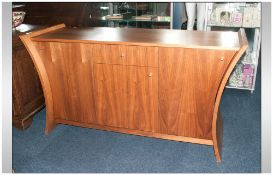 Contemporary Design Sideboard, Teak Finish Central Drawer & Cupboard Between Two Further