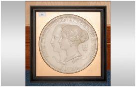 Royal Mint Classics Ltd Edition of 400 ' Victoria and Albert ' Mahogany Framed Commemorative Plaque.