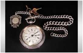 Victorian - Large Silver Open Faced Chronograph Pocket Watch with Attached Silver Albert Chain,