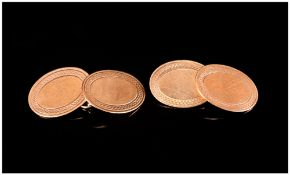 Antique - Oval Shaped Pair of 9ct Gold Cufflinks. Marked 9.375. 5.3 Grams.
