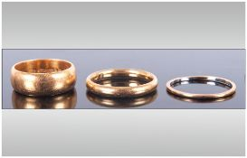 22ct Gold Wedding Bands ( 3 ) In Total. 14.7 Grams. Fully Hallmarked.