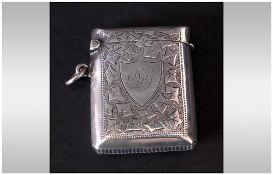 Edward VII Silver Vesta Case With Chased Decoration. Hallmark Birmimgham 1905, 2x1.5''. Good