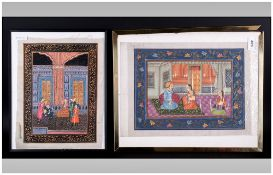 Two Indian Paintings On Cloth In The Mogul Style, one depicting a court scene with men drinking tea,