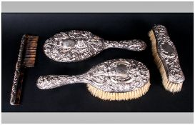 Edward VII - Good Quality and Ornate Embossed Silver 4 Piece Ladies Vanity Set. Hallmark Sheffield
