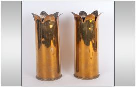 Trench Art Spill Vases with petal shaped tops, dated 1942. Lot 283 C.F 25 PR, Second World War