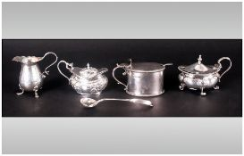 Small Lot Of Silver Condiments Comprising Small Cream Jug Hallmarked For Birmingham g 1906, Three