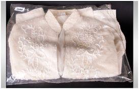 White Knit Cardigan/Jacket with beaded work decoration
