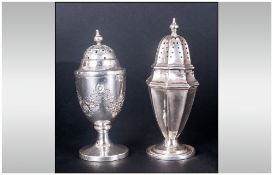 Victorian Silver Pepperette. Hallmark London 1899, Height 3.5 Inches + a Victorian Silver