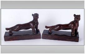 A Vintage Pair of Carved Wood and Mounted Figural Tiger Bookends. Each Stands 7.5 Inches High and