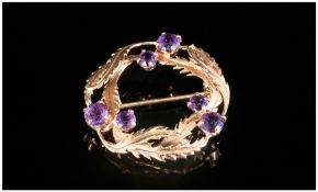 A 1970's Ladies 9ct Gold Leaf Brooch Set With Amethyst, the amethysts of good colour, Hallmark