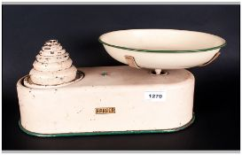 Harper Early To Mid 20thC Kitchen Scales With Enamel Tin Bowl And Set Of 7 Weights In Cream With