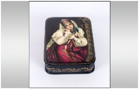 Extremely Fine Quality Russian Lacquer Table Box. Hand Painted With Infinite Detail Depicting