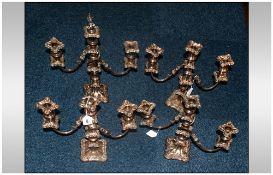 Set Of 4 Matched 2 Branch, 3 Light Candelabras