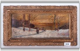 Small Oil Painting on Panel of a Winter Scene, with a Figure Walking Down a Path at Dusk, In Gilt