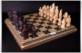 A Fine Quality Bone and Ebony Chessboard, Inlaid with Mother of Pearl. c.1960's. 18 Inches Square.