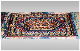 Very Fine Hand Made Bedouin Cashmere Fine Silk Rug/Throw. Measures 61.5 by 35.5 inches and highly