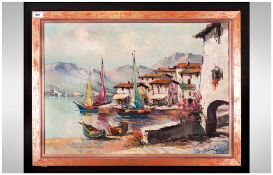 Continental Oil On Board Depicting Sailing Ships On A Coast, signed lower right 'Shippe' 27.5x20''