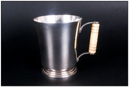 George V Fine and Impressive Silver Tankard / Mug with Ivory Handle and Stepped Base. Hallmark