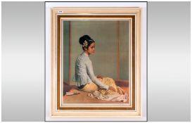 Gerald Kelly 1879-1972 Artist Signed Lithograph Colour Print Titled 'Saw Ohn Nyun' Ballanese Girl.