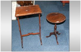 Reproduction Mahogany Effect Wine Table, 20'' in height. 14'' diameter top. Together With A Small