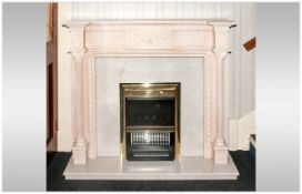 A Bleached Pine Carved Wood Adams Style Contemporary Fireplace with swaggering to the top panels,